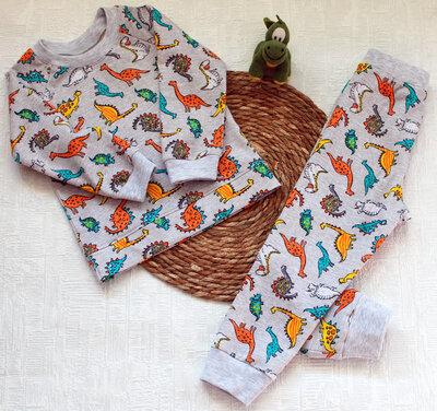 Детская теплая пижама с начесом Дино рост 80 - 146