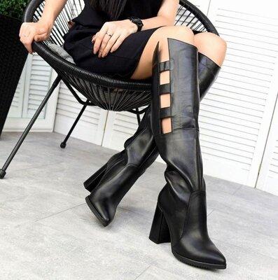 Кс333657Д Демисезонные женские кожаные сапожки черные