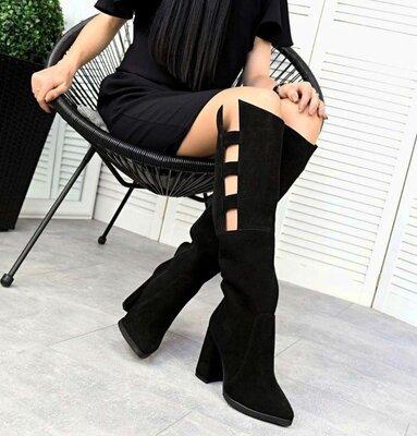 Кс333637Д Демисезонные женские черные сапожки замшевые