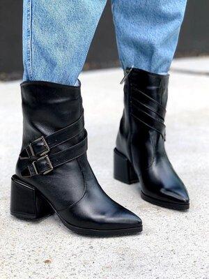Деми черные кожаные сапожки на каблуке