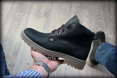 Чоловічі зимові черевики шкіряні Кожаные Мужские зимние ботинки полиуретановая подошва