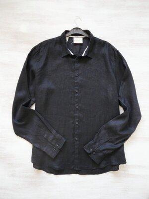 Льняная чёрная рубашка DKNY оригинал, люкс, чистый лён