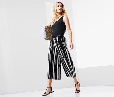 Продано: Черно-Белые стильные брюки- юбка кюлоты , р. 44 евро 50-52