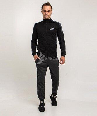 Спортивный мужской костюм Puma на молнии черный с серым