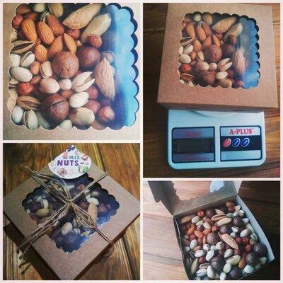 Микс из 7 видов орехов, ассорти орехов, коробка на подарок,на день рождения,новый год,орешки