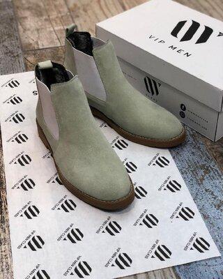Мужские утепленные стильные оригинальные натуральные мужские челси сапоги ботинки демисезонные евро