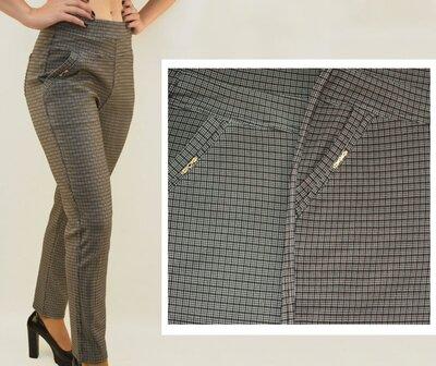 Брюки штаны лосины с карманами женские офисные в мелкую клетку Батал L - 6X