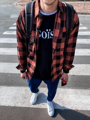 Цвета. Стильный мужская Рубашка Байковая клетка оранжевый черный r23
