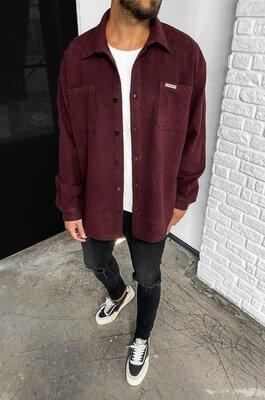 Цвета. Стильный мужская Рубашка Байковая винно красный бордовый r33