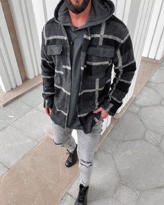 Цвета. Стильный мужская Рубашка Байковая темно серый крупная клетка r38
