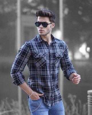Цвета. Стильный мужская Рубашка Байковая черный серый клетка r32
