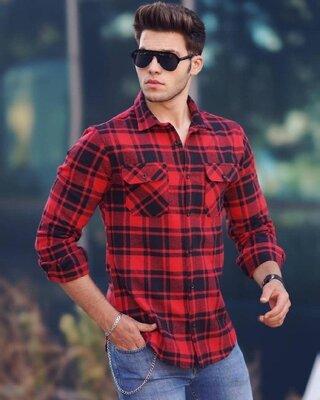 Цвета. Стильный мужская Рубашка Байковая черный красный клетка r30