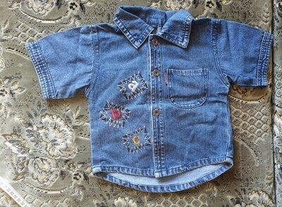 Рубашка для мальчика джинсовая с кор.рукавом