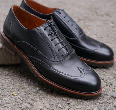 Мужские статусные кожаные туфли броги осенние демисезонные оксфорды отличное качество топ модель