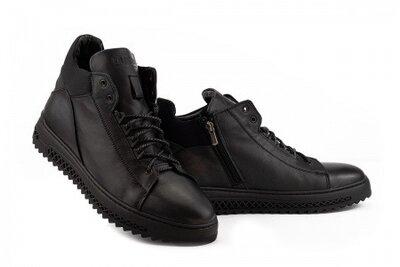 Мужские ботинки кожаные зимние черные Zangak 150 чл