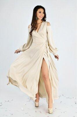 Вечернее платье в пол из атласа Lipar. Разные цвета и размеры