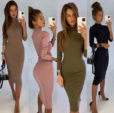 Стильное базовое женское платье рубчик