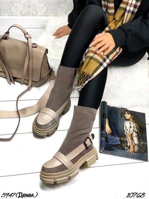 Продано: Женские натуральные кожаные замшевые чёрные бежевые ботинки на ремешке на низком ходу