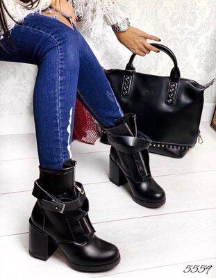 Женские натуральные кожаные демисезонные чёрные ботинки впереди на молнии с портупеей на каблуке