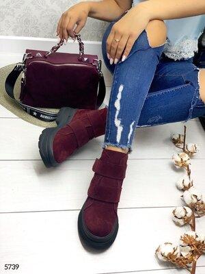 Женские натуральные кожаные замшевые демисезонные ботинки на ремешке на шнуровке на низком ходу