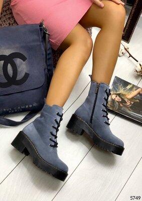 Женские натуральные кожаные замшевые демисезонные ботинки на шнуровке на низком ходу