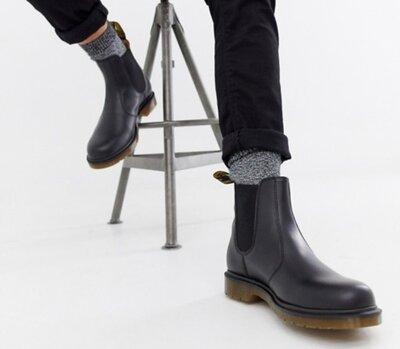 Мужские ботинки челси Dr. Martens, демисезонные из натуральной кожи чёрного цвета Chelsea