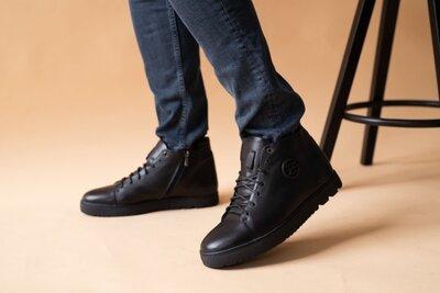 Мужские ботинки кожаные зимние черные Zangak 162 чл чп