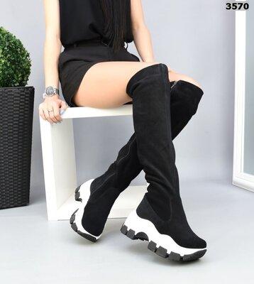 Женские натуральные кожаные замшевые чёрные спортивные сапоги ботфорты на платформе танкетке
