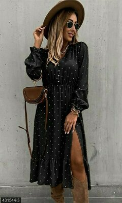 Платье миди с длинным рукавом в горошек