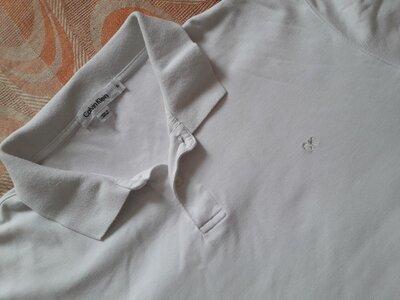 Фирменная белая футболка поло Calvin Klein на размер 52-54