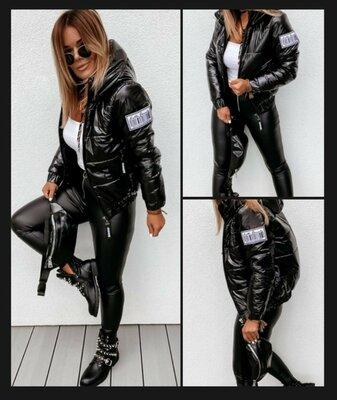 Куртка лак, куртка чёрная, 46 - 56 тренд осени по супер цене
