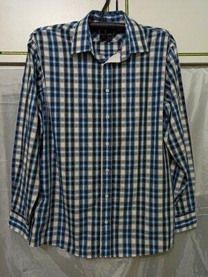 Рубашка мужская с длинным рукавом. клетка. Классика. Хлопок 100 % котон размер 54 56