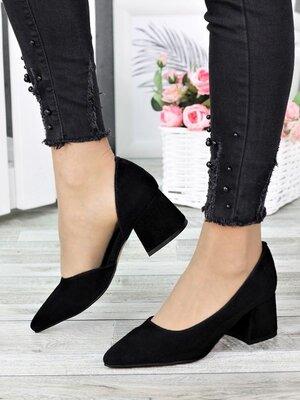 Туфли лодочки черная замша Laura 7306-28. Материал Верха Натуральная замша Размер Обуви 36 37 38