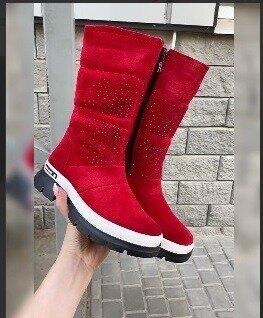 Кс336007З Зимние женские замшевые сапоги дутики красные