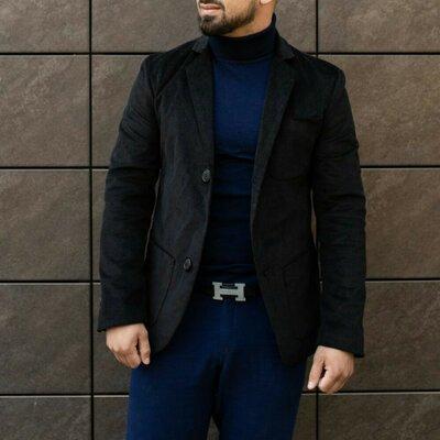 Пиджак велюровый черный