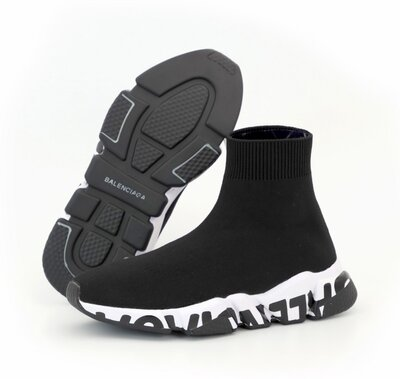 Мужские кроссовки Balenciaga Speed Trainer. Унисекс. Black White. Баленсиага