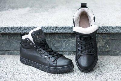 Мужские зимние ботинки Carlo Pachini чёрные кожаные с мехом