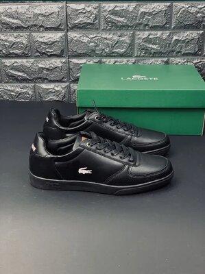Мужские черные кеды Лакоста, кросівки кеди Lacoste кроссовки
