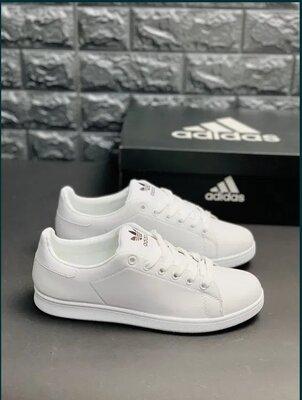Мужские Ядовито белые кеды, кроссовки Адидас, Удобные туфли кросовки кеды Адідас