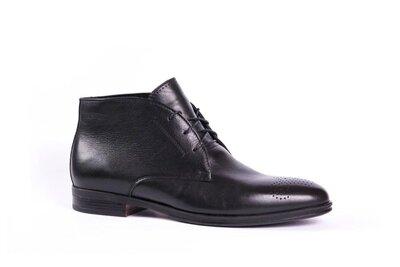 Мужские зимние ботинки Икос на меху чёрные кожаные