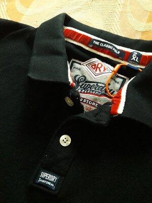 Фирменная чёрная новая футболка поло Superdry на размер 52-54