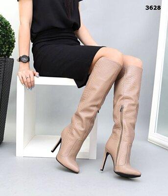 Женские натуральные замшевые кожаные сапоги ботфорты на каблуке шпильке