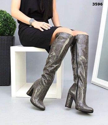 Женские натуральные кожаные замшевые сапоги ботфорты на устойчивом каблуке