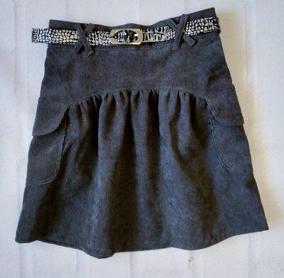 Детская вельветовая юбка с поясом. тёмно-серая детская юбка. ткань микровельвет. 110-146рр