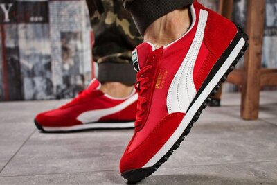 Мужские кроссовки Puma Easy Rider красные,осенние,замшевые