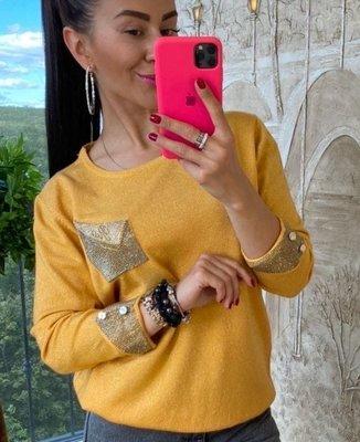 Роскошный свитер - стразы камни- карман-- 5 цветов