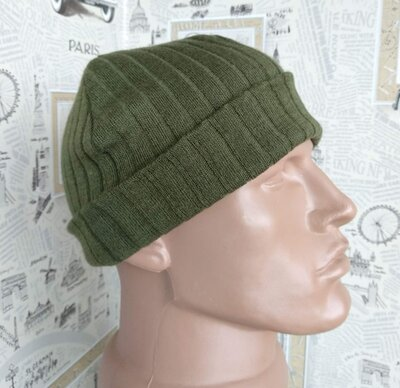 Рубчик шапка вязка двойная бини хаки отворот