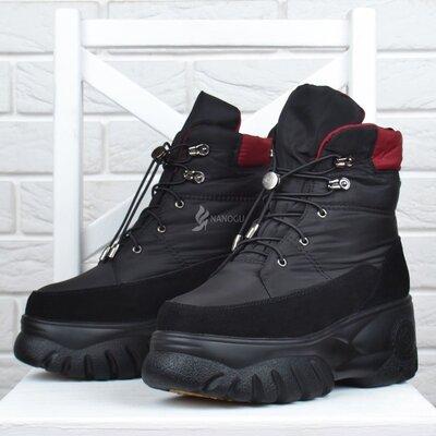 Дутики женские зимние Lonza замша и натуральный мех ботинки на платформе