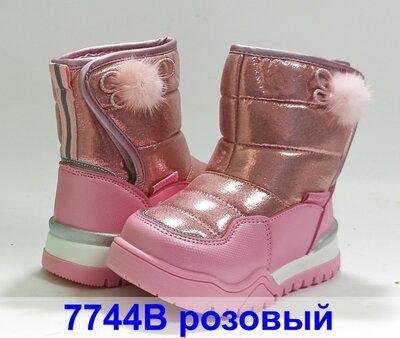 Зимние термо ботинки сапожки сапоги дутики девочке дівчинки том м 7744В розовый, 23-28