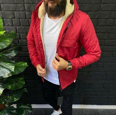 Мега новинка мужская куртка бомбер ветровка парка анорак утеплённая красная евро зима демисезонная